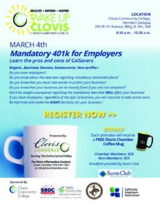 Wake Up Clovis – Mandatory 401k for Employers